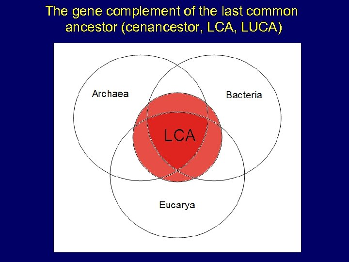 The gene complement of the last common ancestor (cenancestor, LCA, LUCA)