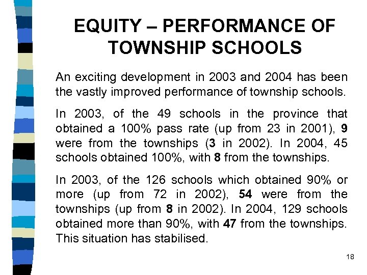 EQUITY – PERFORMANCE OF TOWNSHIP SCHOOLS An exciting development in 2003 and 2004 has