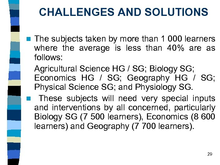 CHALLENGES AND SOLUTIONS The subjects taken by more than 1 000 learners where the