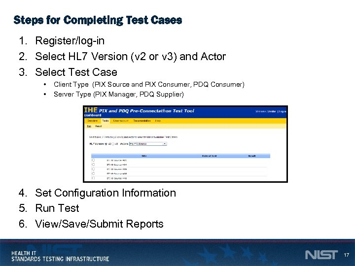 Steps for Completing Test Cases 1. Register/log-in 2. Select HL 7 Version (v 2