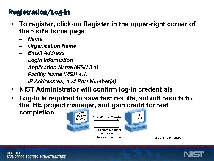Registration/Log-in • To register, click-on Register in the upper-right corner of the tool's home