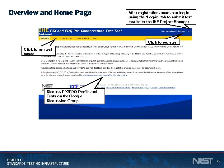 Overview and Home Page After registration, users can log-in using the 'Log-in' tab to