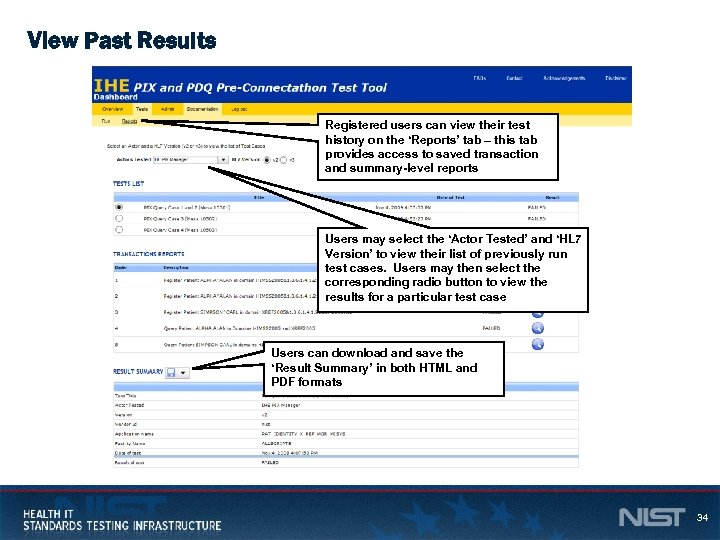 View Past Results Registered users can view their test history on the 'Reports' tab