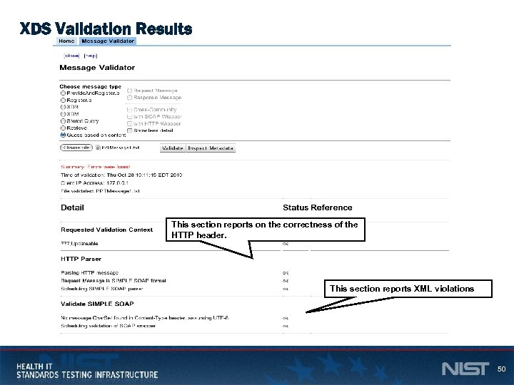 XDS Validation Results This section reports on the correctness of the HTTP header. This