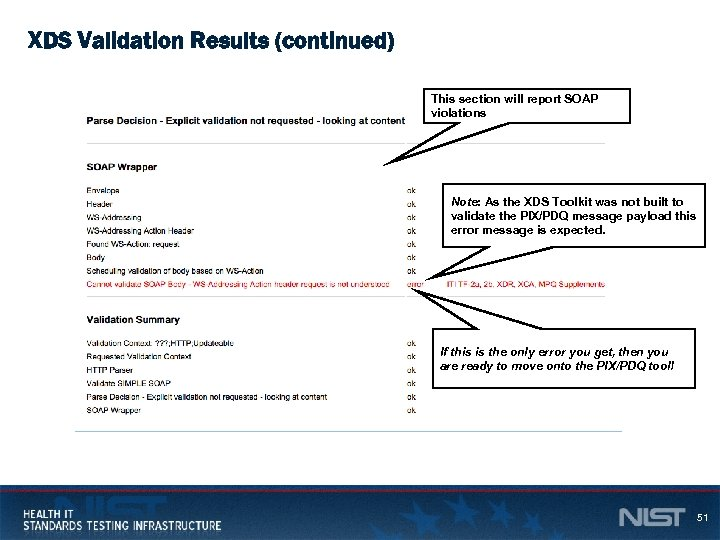 XDS Validation Results (continued) This section will report SOAP violations Note: As the XDS