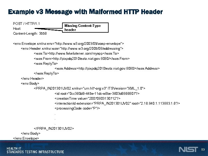 Example v 3 Message with Malformed HTTP Header POST / HTTP/1. 1 Host: Content-Length: