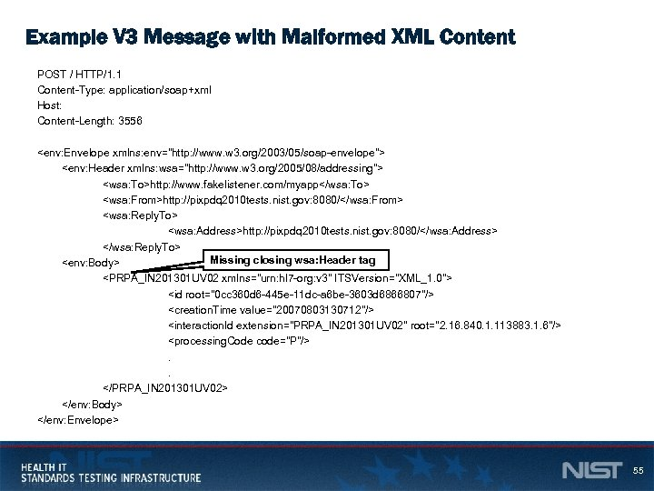 Example V 3 Message with Malformed XML Content POST / HTTP/1. 1 Content-Type: application/soap+xml