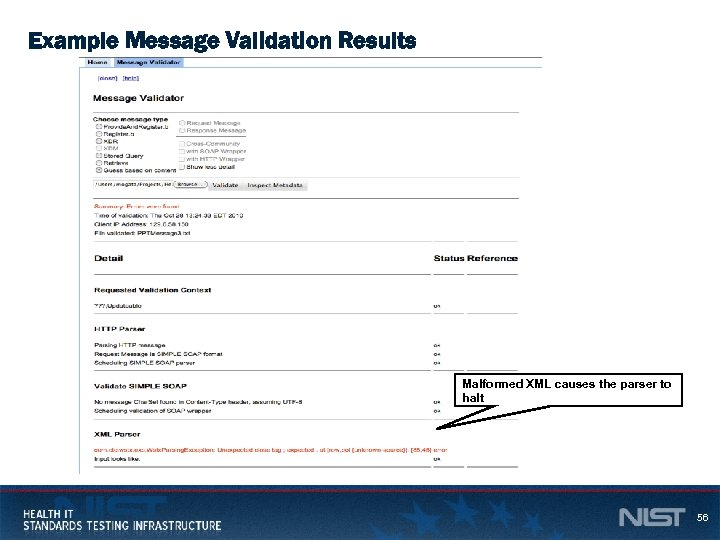 Example Message Validation Results Malformed XML causes the parser to halt 56
