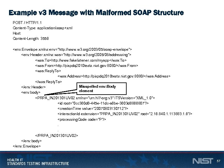 Example v 3 Message with Malformed SOAP Structure POST / HTTP/1. 1 Content-Type: application/soap+xml