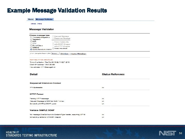 Example Message Validation Results 58