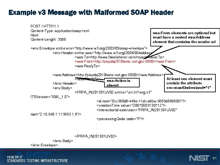 Example v 3 Message with Malformed SOAP Header POST / HTTP/1. 1 Content-Type: application/soap+xml