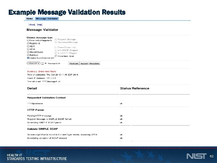 Example Message Validation Results 62