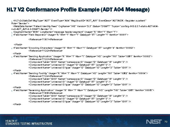 HL 7 V 2 Conformance Profile Example (ADT A 04 Message) - <HL 7