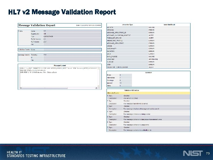 HL 7 v 2 Message Validation Report 73