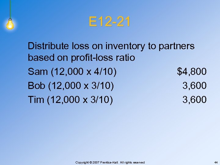 E 12 -21 Distribute loss on inventory to partners based on profit-loss ratio Sam