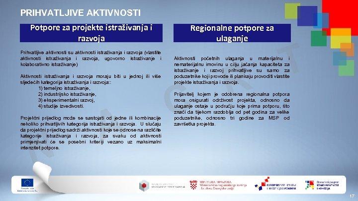 PRIHVATLJIVE AKTIVNOSTI Potpore za projekte istraživanja i razvoja Prihvatljive aktivnosti su aktivnosti istraživanja i
