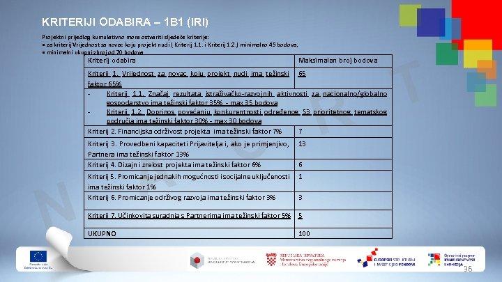 KRITERIJI ODABIRA – 1 B 1 (IRI) Projektni prijedlog kumulativno mora ostvariti sljedeće kriterije: