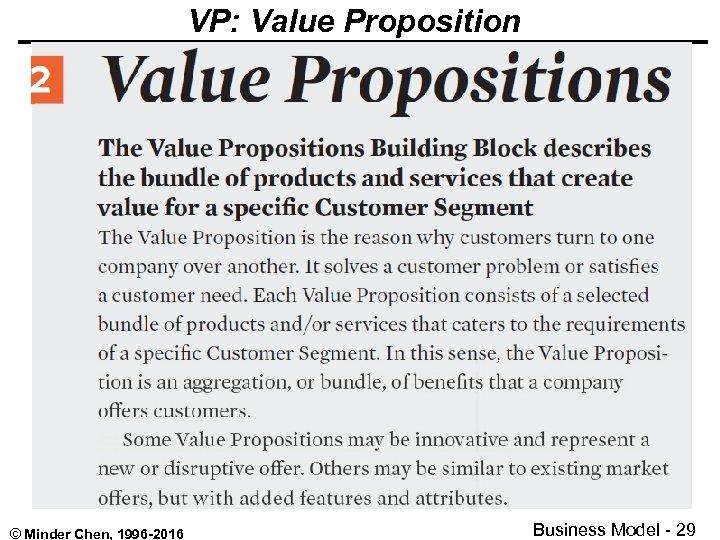 VP: Value Proposition © Minder Chen, 1996 -2016 Business Model - 29