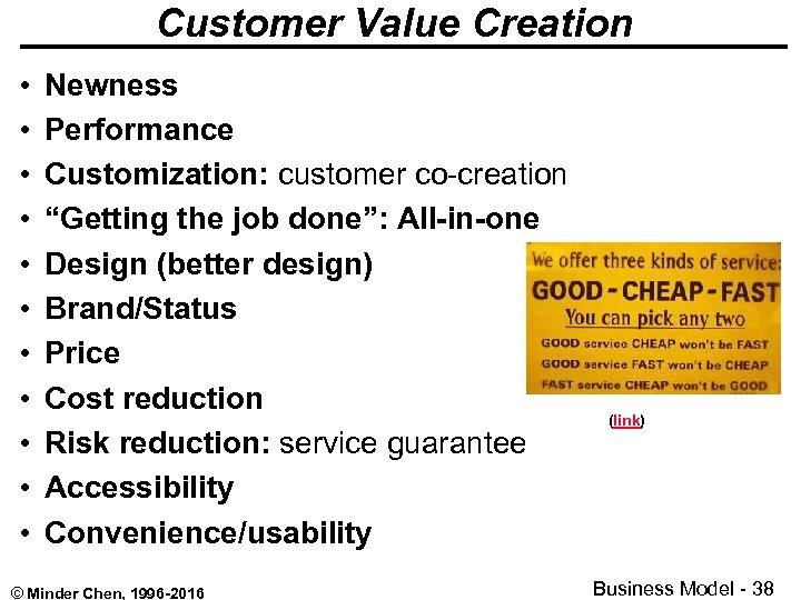 "Customer Value Creation • • • Newness Performance Customization: customer co-creation ""Getting the job"
