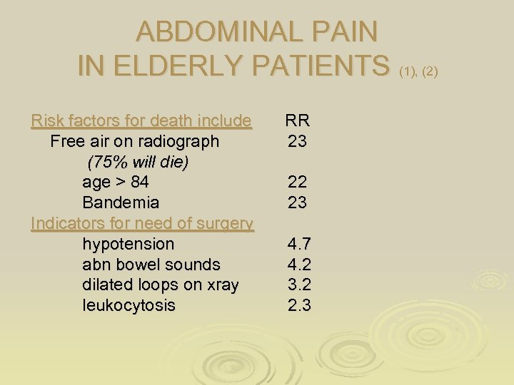 ABDOMINAL PAIN IN ELDERLY PATIENTS (1), (2) Risk factors for death include Free air