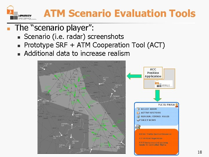 """ATM Scenario Evaluation Tools n The """"scenario player"""": n n n Scenario (i. e."""