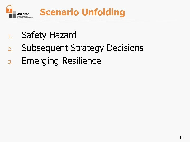 Scenario Unfolding 1. 2. 3. Safety Hazard Subsequent Strategy Decisions Emerging Resilience 19