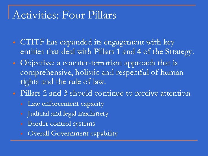 Activities: Four Pillars w w w CTITF has expanded its engagement with key entities