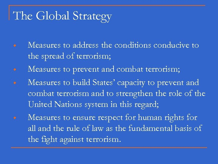 The Global Strategy w w Measures to address the conditions conducive to the spread