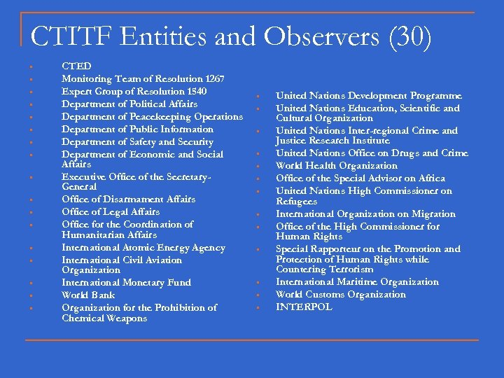 CTITF Entities and Observers (30) • • • • • CTED Monitoring Team of