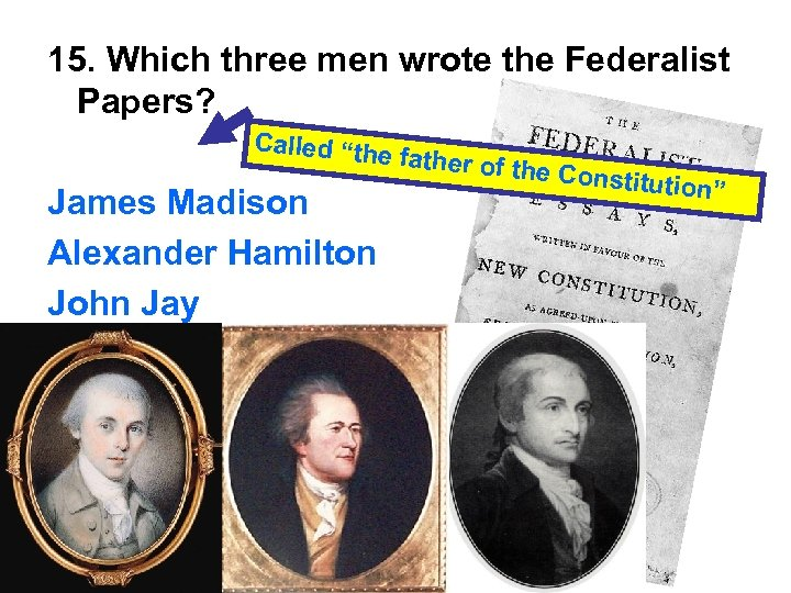"15. Which three men wrote the Federalist Papers? Called ""the James Madison Alexander Hamilton"