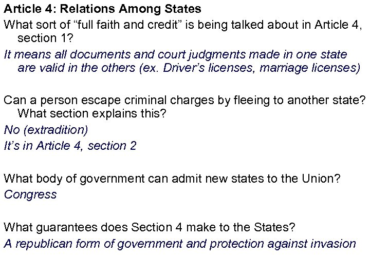 """Article 4: Relations Among States What sort of """"full faith and credit"""" is being"""
