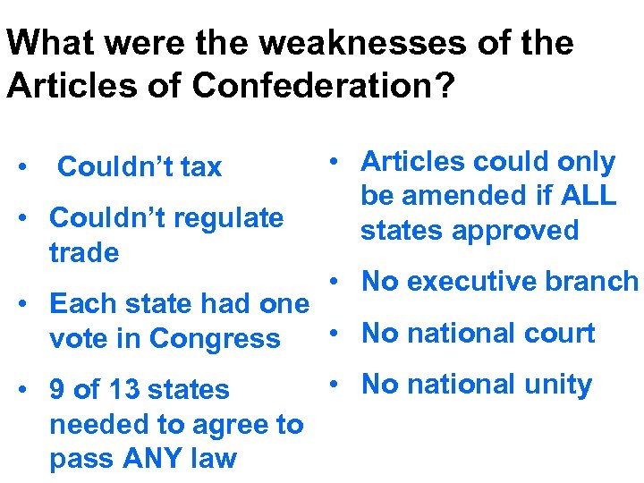 What were the weaknesses of the Articles of Confederation? • Couldn't tax • Couldn't