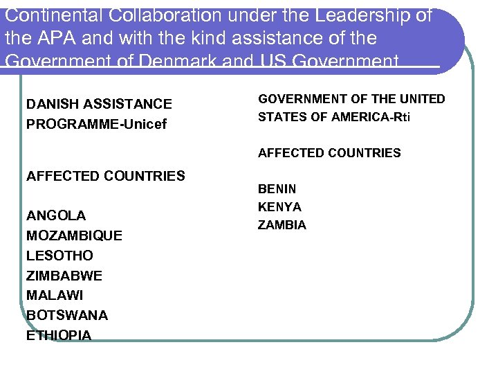Continental Collaboration under the Leadership of the APA and with the kind assistance of
