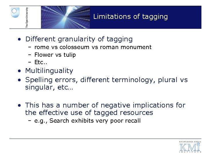 Limitations of tagging • Different granularity of tagging – rome vs colosseum vs roman