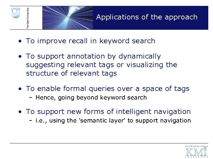 Applications of the approach • To improve recall in keyword search • To support