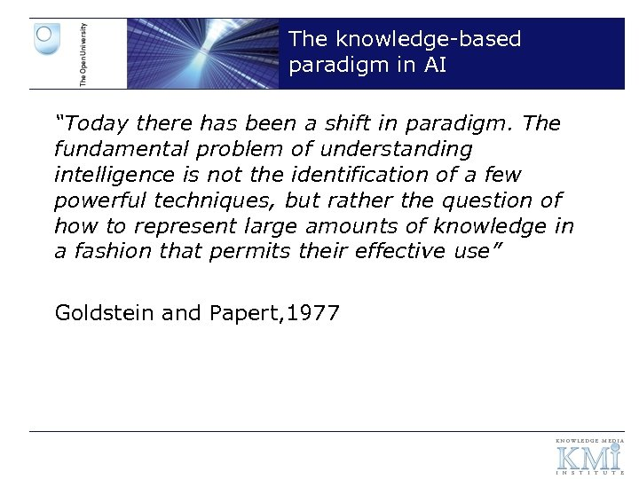 """The knowledge-based paradigm in AI """"Today there has been a shift in paradigm. The"""