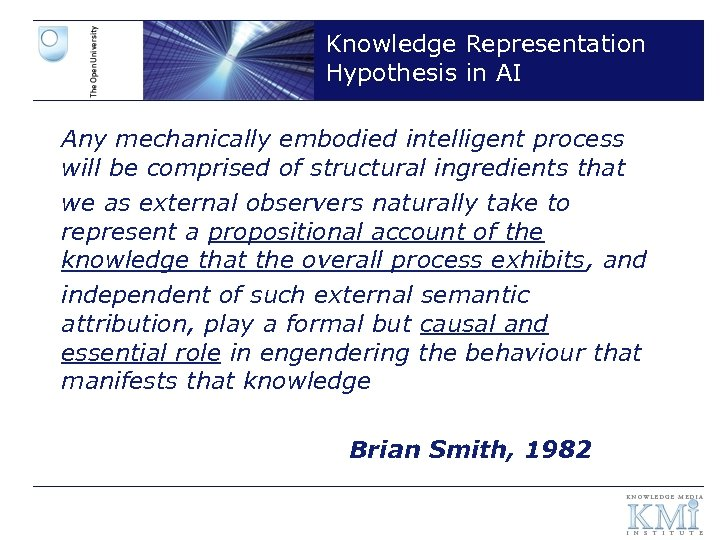 Knowledge Representation Hypothesis in AI Any mechanically embodied intelligent process will be comprised of