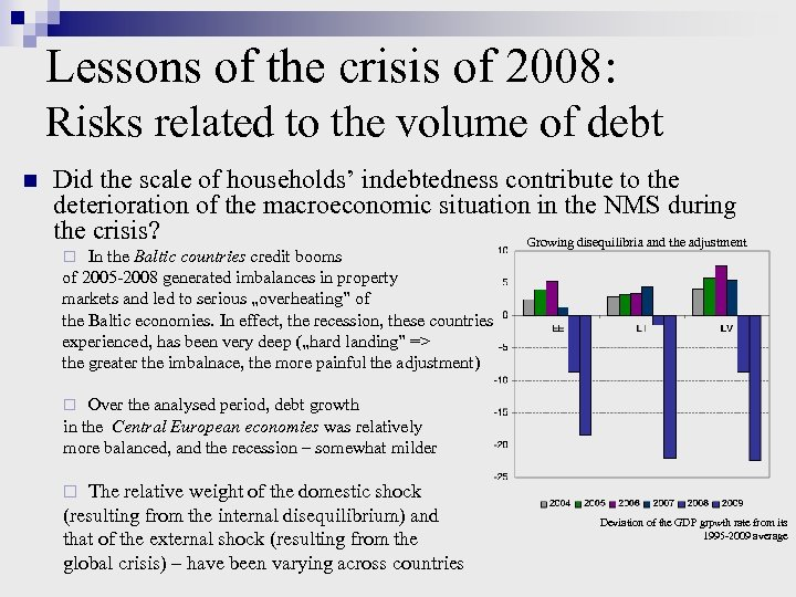 Lessons of the crisis of 2008: Risks related to the volume of debt n