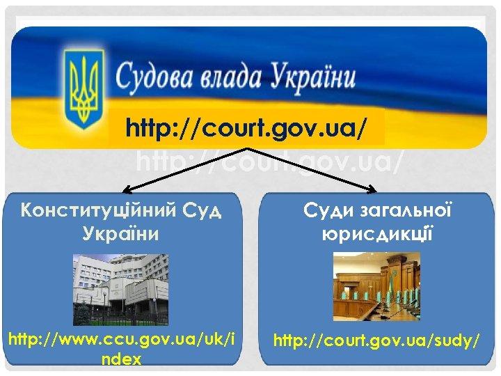 http: //court. gov. ua/ Конституційний Суд України Суди загальної юрисдикції http: //www. ccu. gov.