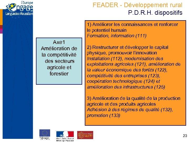 FEADER - Développement rural P. D. R. H. dispositifs 1) Améliorer les connaissances et
