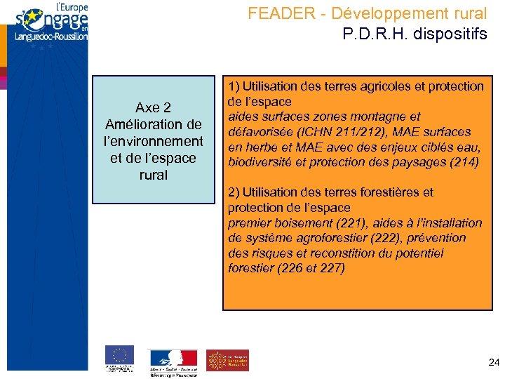 FEADER - Développement rural P. D. R. H. dispositifs Axe 2 Amélioration de l'environnement