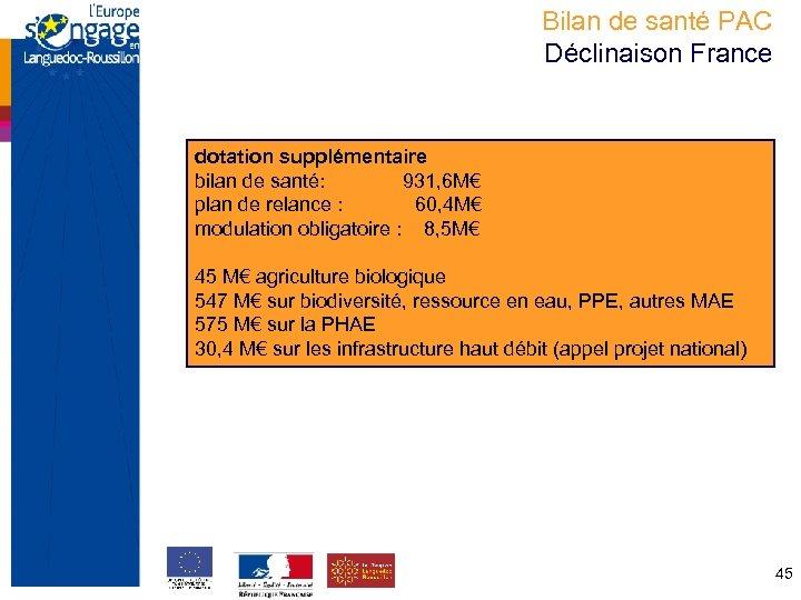 Bilan de santé PAC Déclinaison France dotation supplémentaire bilan de santé: 931, 6 M€