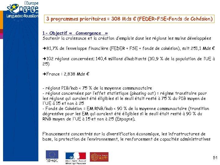 3 programmes prioritaires = 308 Mds € (FEDER+FSE+Fonds de Cohésion) 1 - Objectif «
