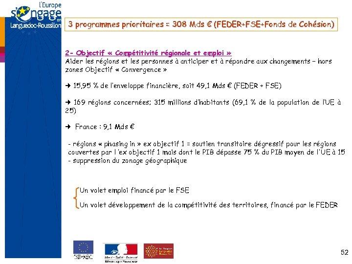 3 programmes prioritaires = 308 Mds € (FEDER+FSE+Fonds de Cohésion) 2 - Objectif «