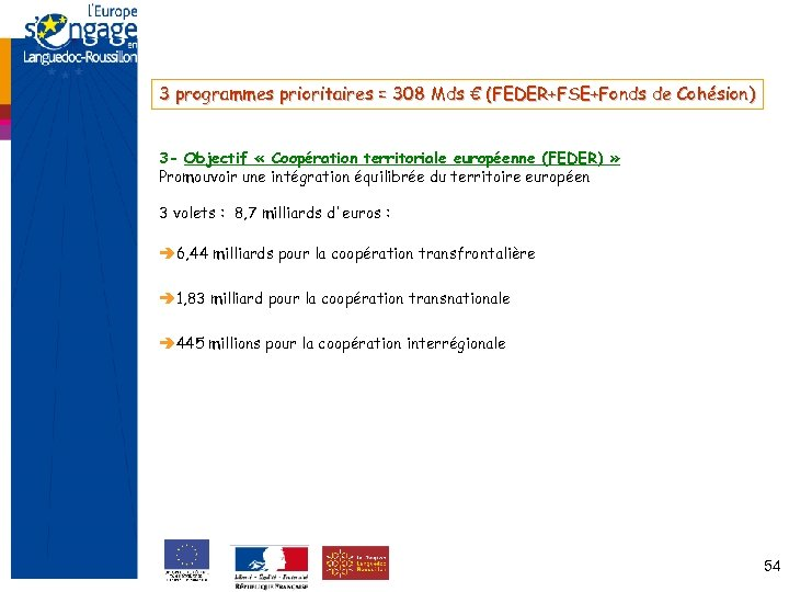 3 programmes prioritaires = 308 Mds € (FEDER+FSE+Fonds de Cohésion) 3 - Objectif «