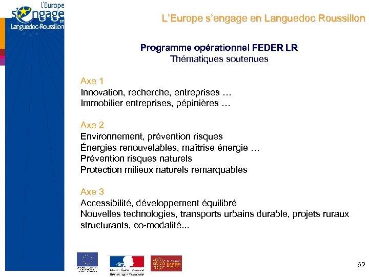 L'Europe s'engage en Languedoc Roussillon Programme opérationnel FEDER LR Thématiques soutenues Axe 1 Innovation,