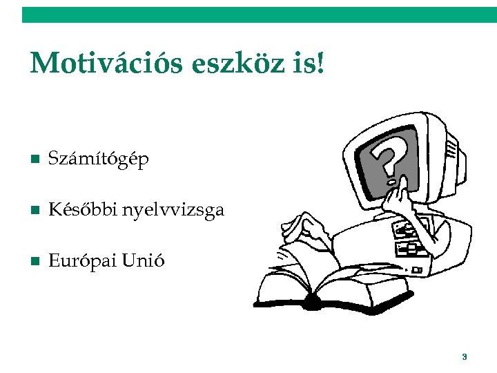 Motivációs eszköz is! n Számítógép n Későbbi nyelvvizsga n Európai Unió 3