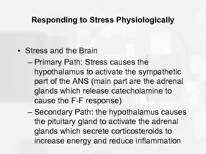 Responding to Stress Physiologically • Stress and the Brain – Primary Path: Stress causes
