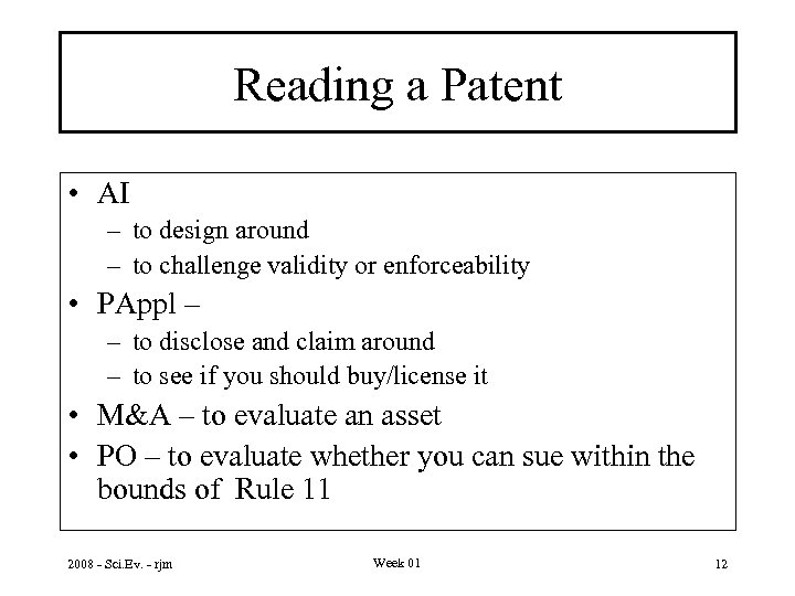 Reading a Patent • AI – to design around – to challenge validity or