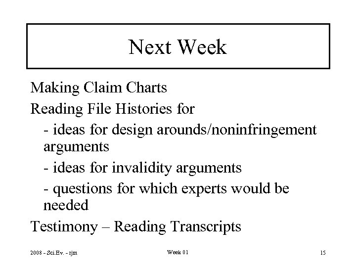 Next Week Making Claim Charts Reading File Histories for - ideas for design arounds/noninfringement